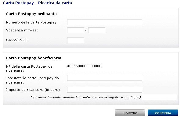 ricarica online postepay